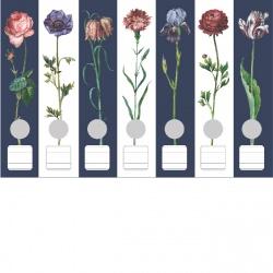 Ordneretiketten bloemen blauw/wit