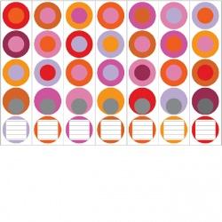 Ordneretiketten rode cirkels