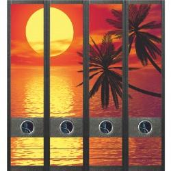 File Art ordneretiketten - Ondergaande zon met palmen